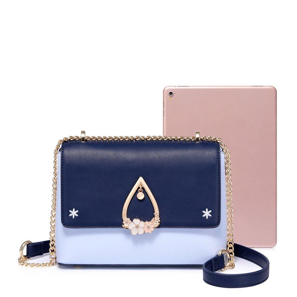 Túi đeo chéo Just Star họa tiết giọt nước dễ thương màu trắng nắp xanh 171907 - 06