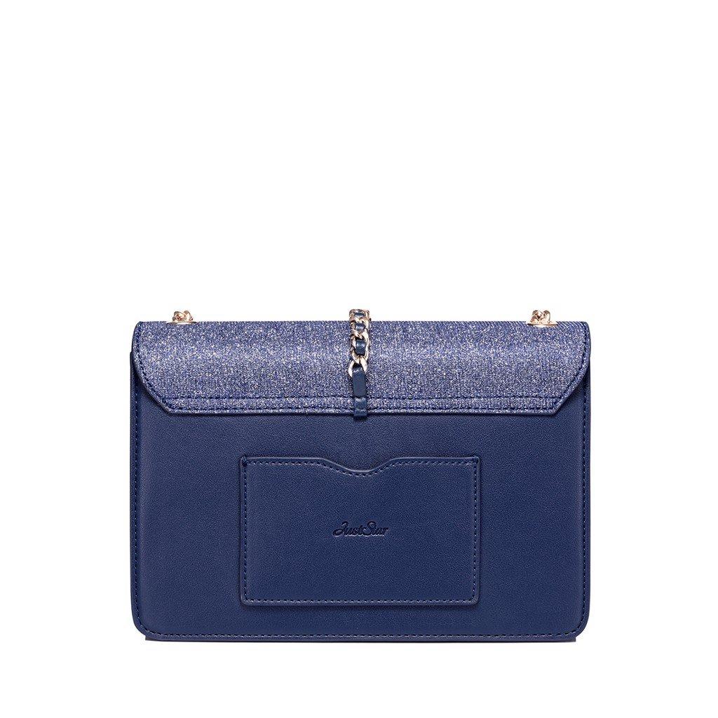Túi đeo chéo Just Star charm tim ánh nhũ sang trọng màu xanh navy 172062-06