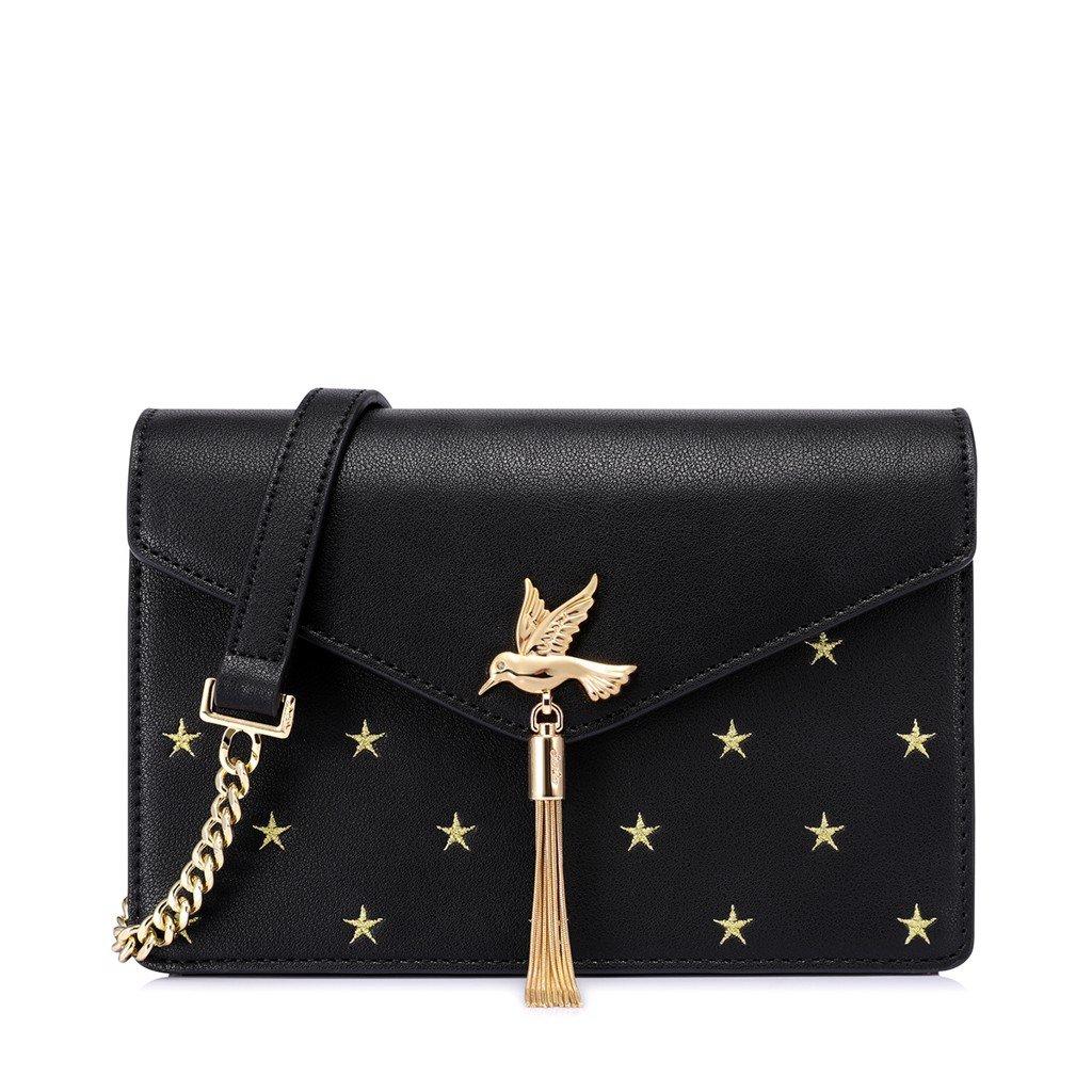 Túi đeo chéo Just Star charm chim phối họa tiết ngôi sao màu đen sang trọng 172414-01