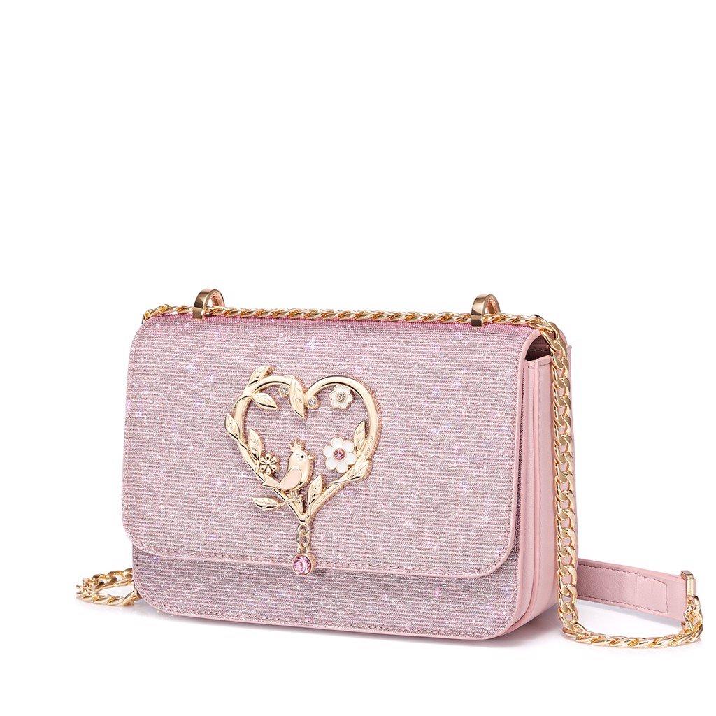 Túi đeo chéo màu hồng lấp lánh Just Star 172354-04
