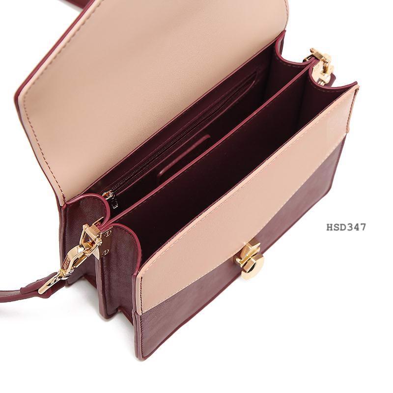 Túi đeo chéo Micocah khóa kiểu sang trọng màu vàng kem HSD347-1