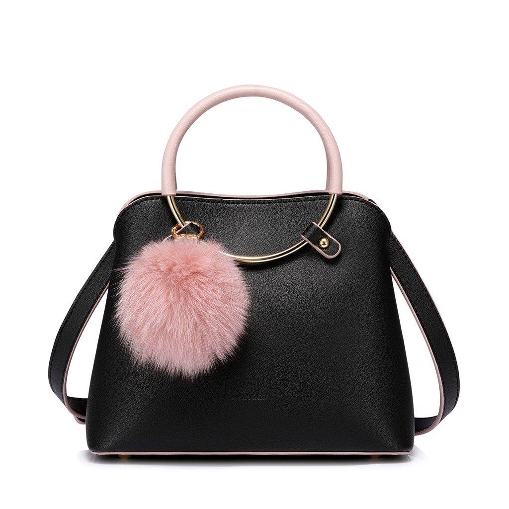Túi Just Star màu đen charm bông hồng dễ thương 172311-01