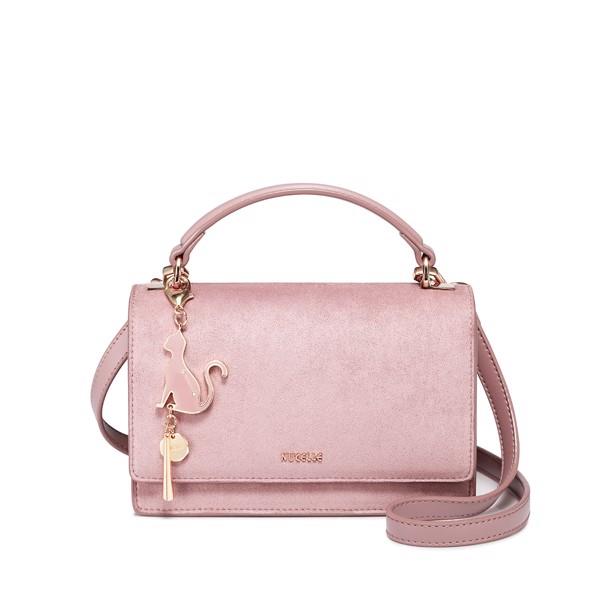 Túi Nucelle 1171539 sang trọng màu hồng charm mèo - chữ nhật