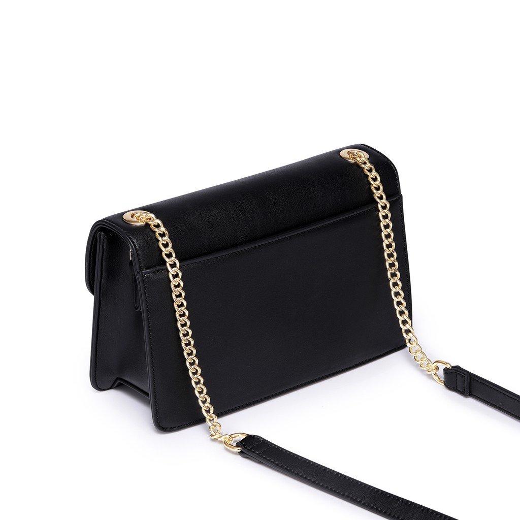 Túi Nucelle đen phom chữ nhật charm ngọc trai tai mèo
