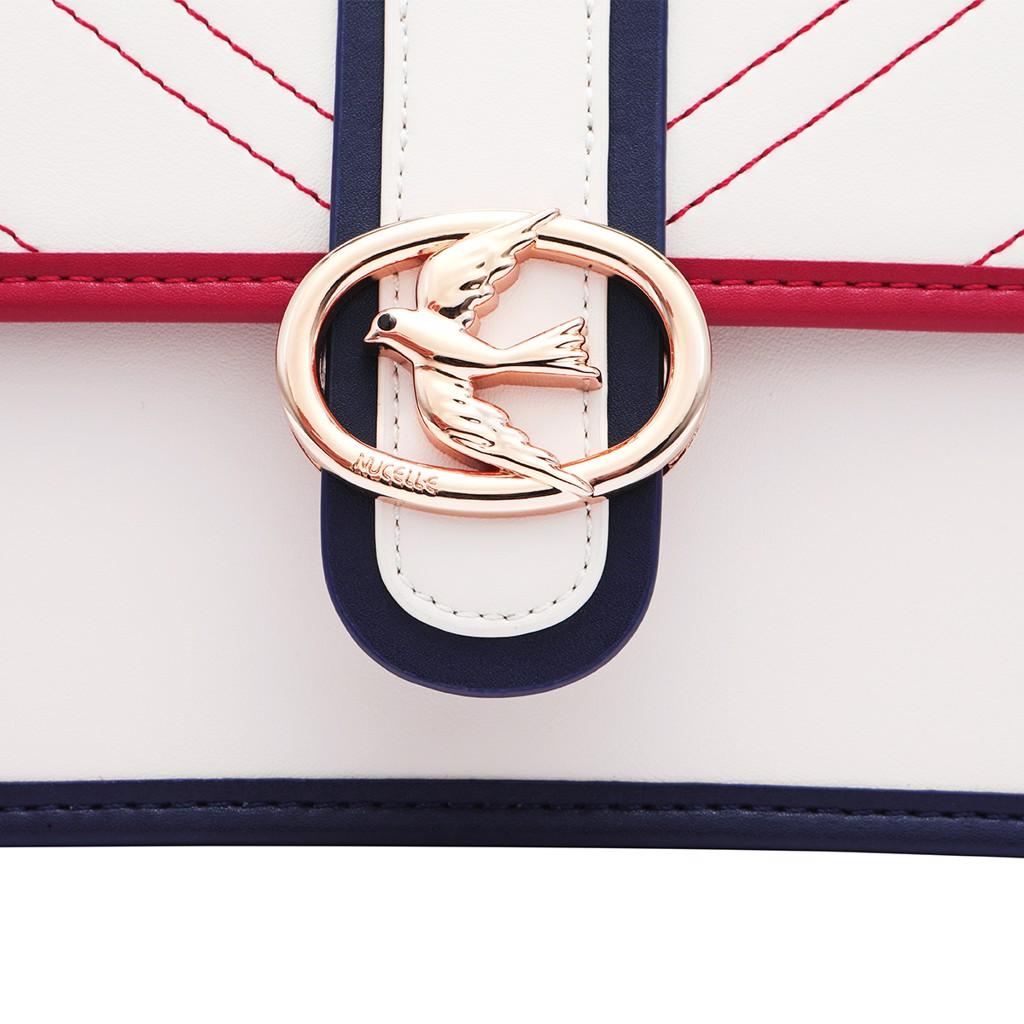 Túi Nucelle sang trọng màu trắng phối viền xanh đỏ 1171639-48