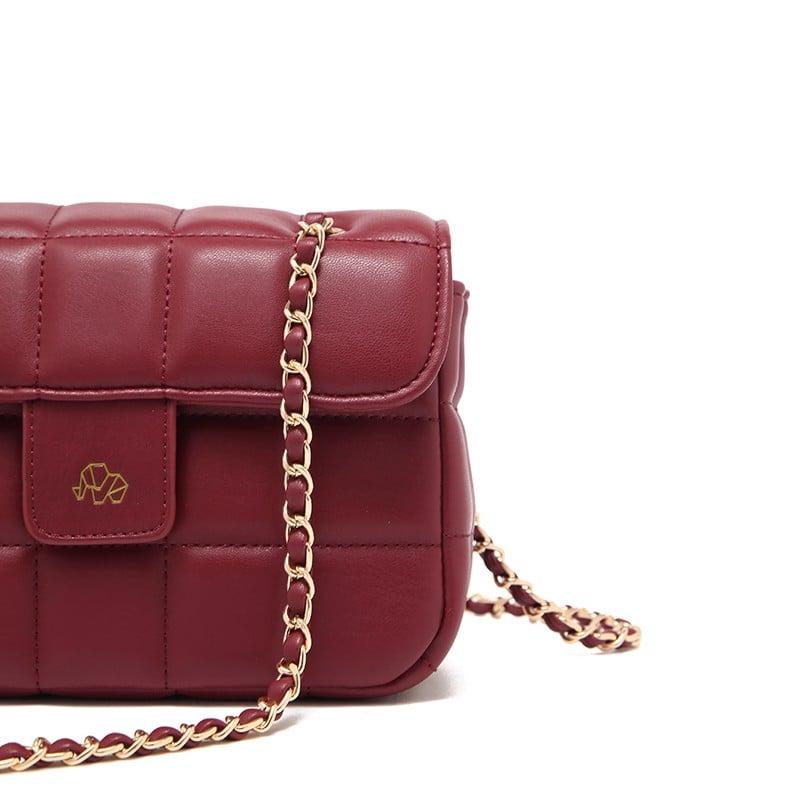 Túi xách Micocah kẻ vuông sang trọng màu đỏ rượu MSD357-2