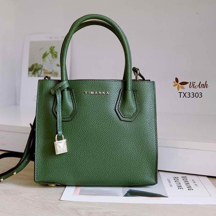 Túi xách xuất khẩu công sở size nhỏ dáng MK  màu xanh rêu