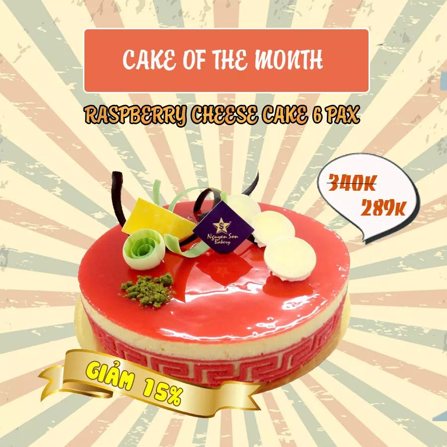 CAKE OF THE MONTH: GIẢM 15% RASPBERRY CHEESE CAKE 6 PAX