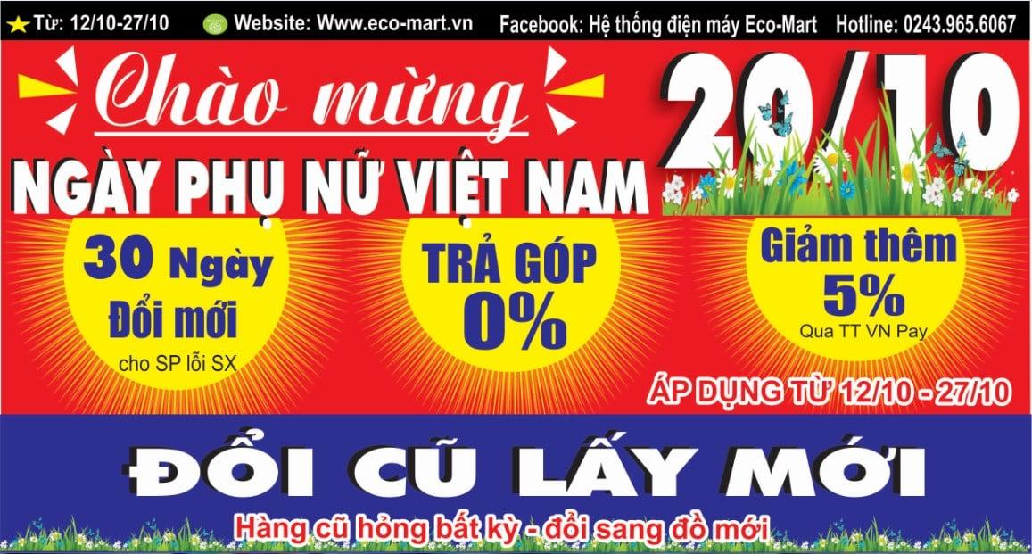 Chào mừng ngày phụ nữ Việt Nam 20/10 - Giá Sập Sàn - Tặng Quà Ngập Tràn
