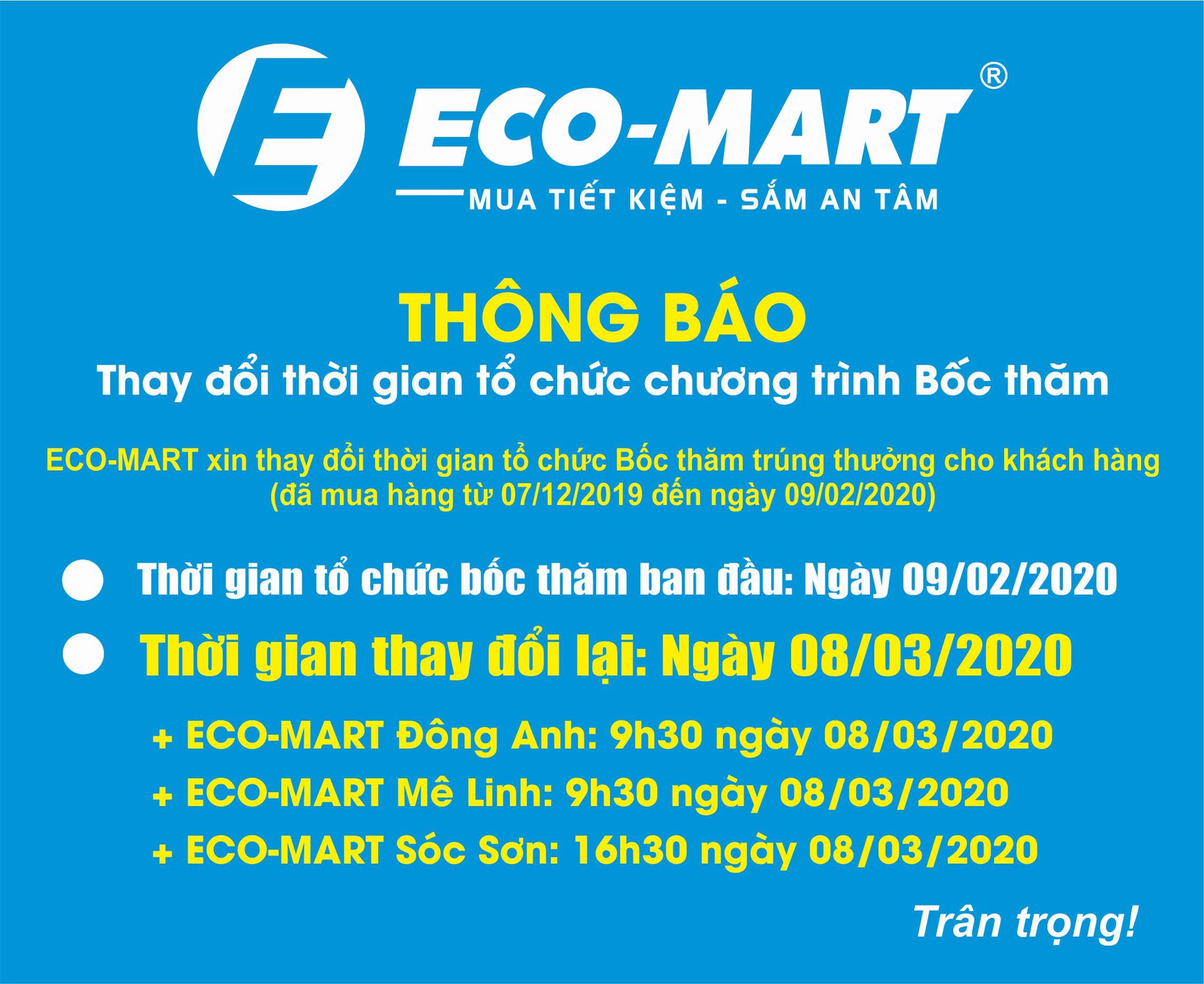 ECO-MART xin trân trọng thông báo