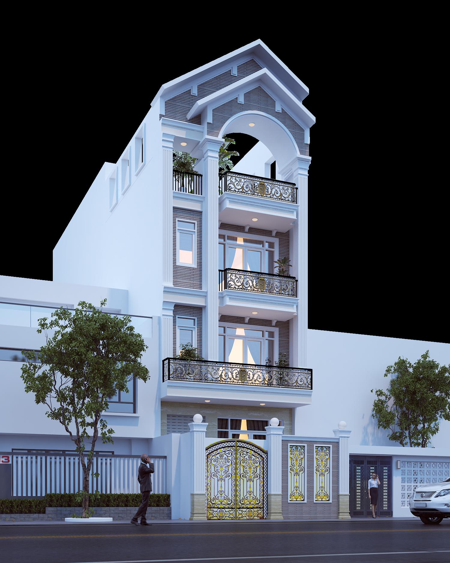 Thiết kế nhà  1 trệt 3 lầu mái ngói