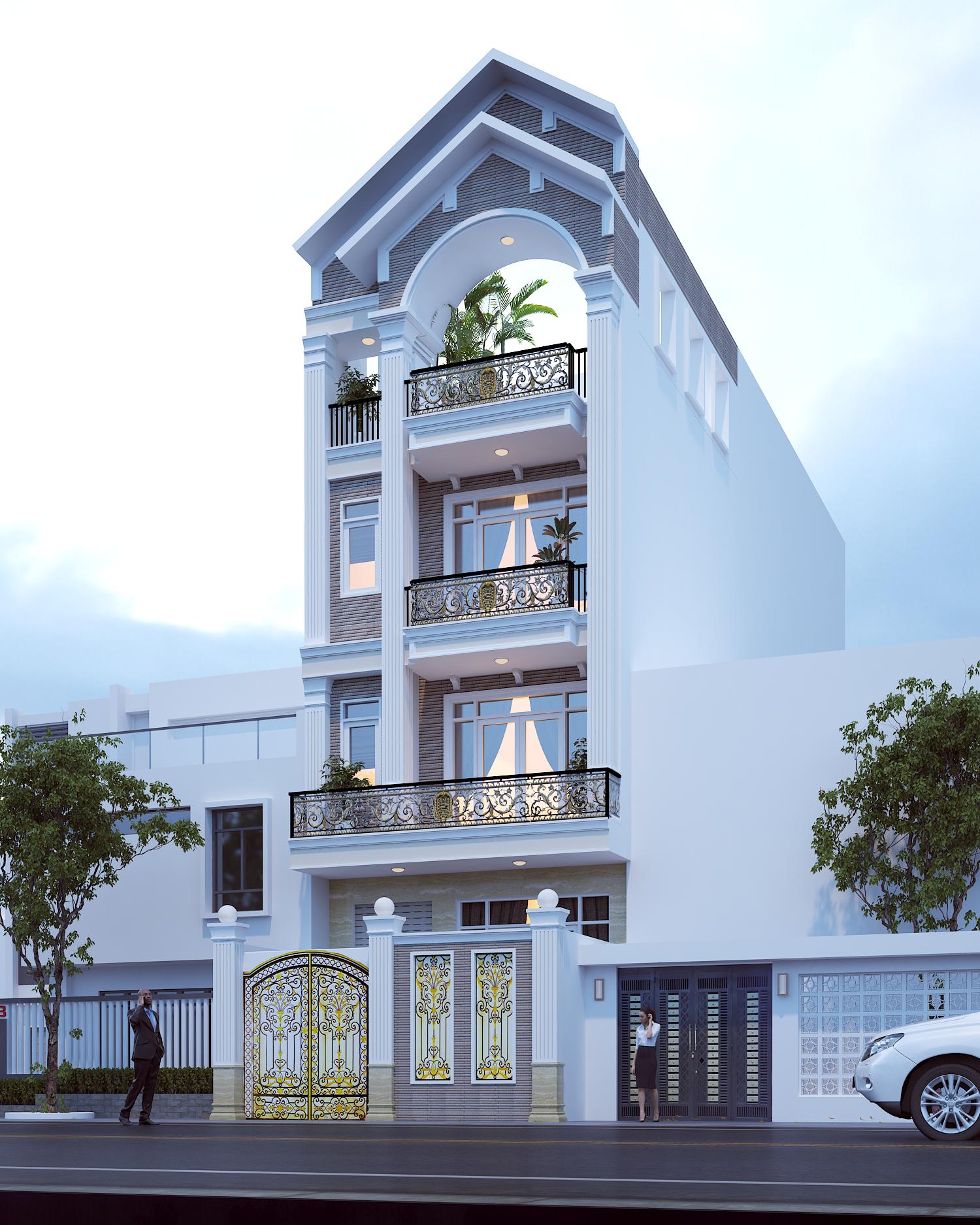 Thiết kế nhà 6m với  1 trệt 3 lầu mái ngói
