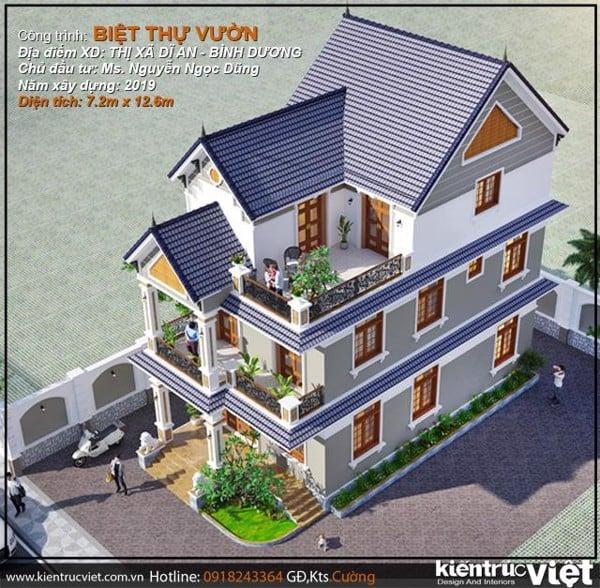 Biệt thự 3 tầng mái thái ngang nhà 7.2m dài 12.6m chuẩn phong thuỷ cho nhà ở