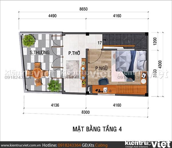 Thiết kế nhà siêu nhỏ 32m2 4 tầng có gara oto - mặt bằng sân thượng