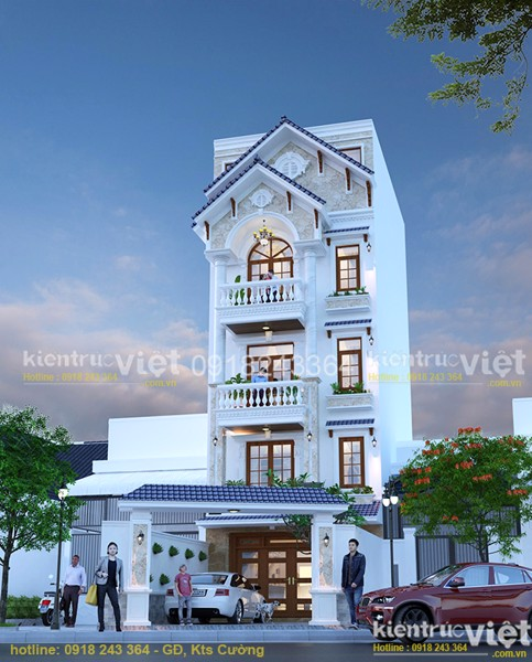 mẫu nhà phố ngang 5,6mx9m 5 tầng