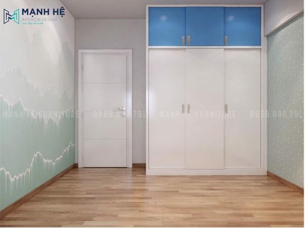Tủ quần áo gỗ công nghiệp của lùa cho không gian phòng bé gọn gàng