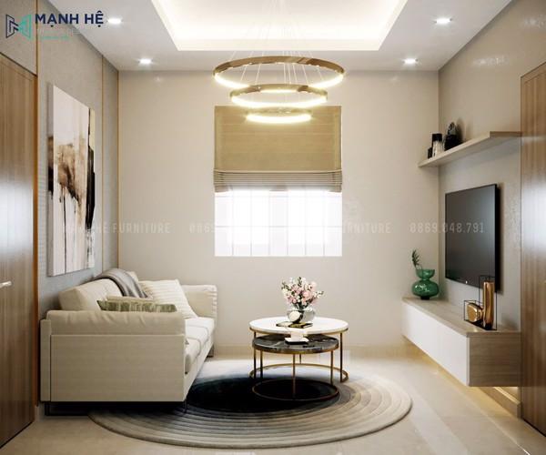 Không gian phòng khách tràn đầy ánh nắng tự nhiên