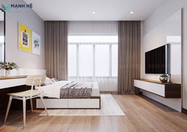 Kệ tivi treo tường đơn giản phòng ngủ bé