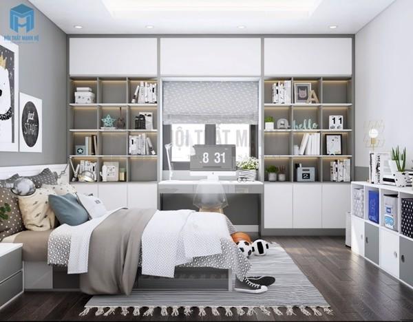 Thiết kế kệ trang trí lớn cho phòng ngủ bé