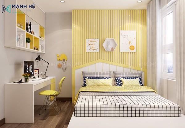 Thiết kế phòng ngủ dễ thương cho bé gái với ốp tường đầu giường nan gỗ