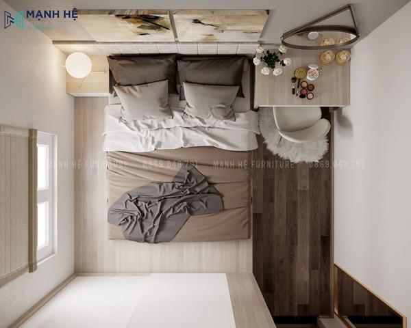 Góc nhìn tổng thể của phòng ngủ master sang trọng, đẳng cấp