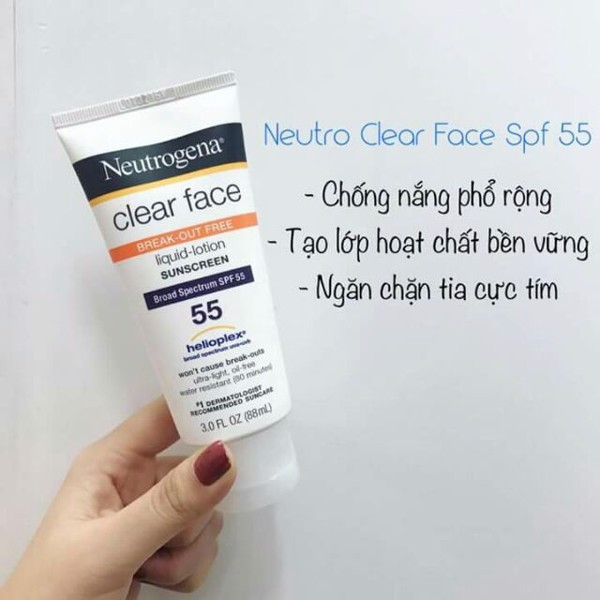Kem Chống Nắng Neutrogena Clear Face Break Out Free Liquid Lotion Sunscreen SPF 55 88ml