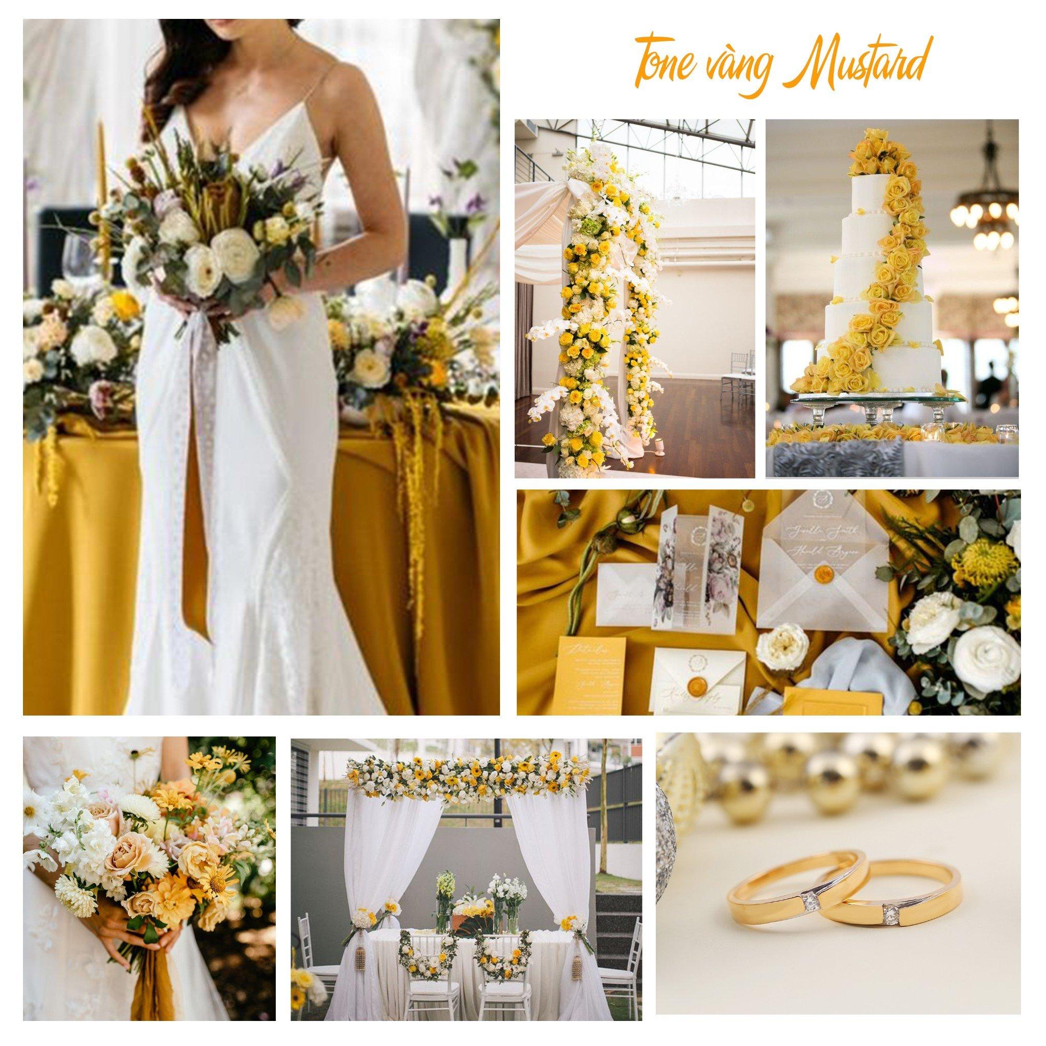 không gian tiệc cưới tone vàng