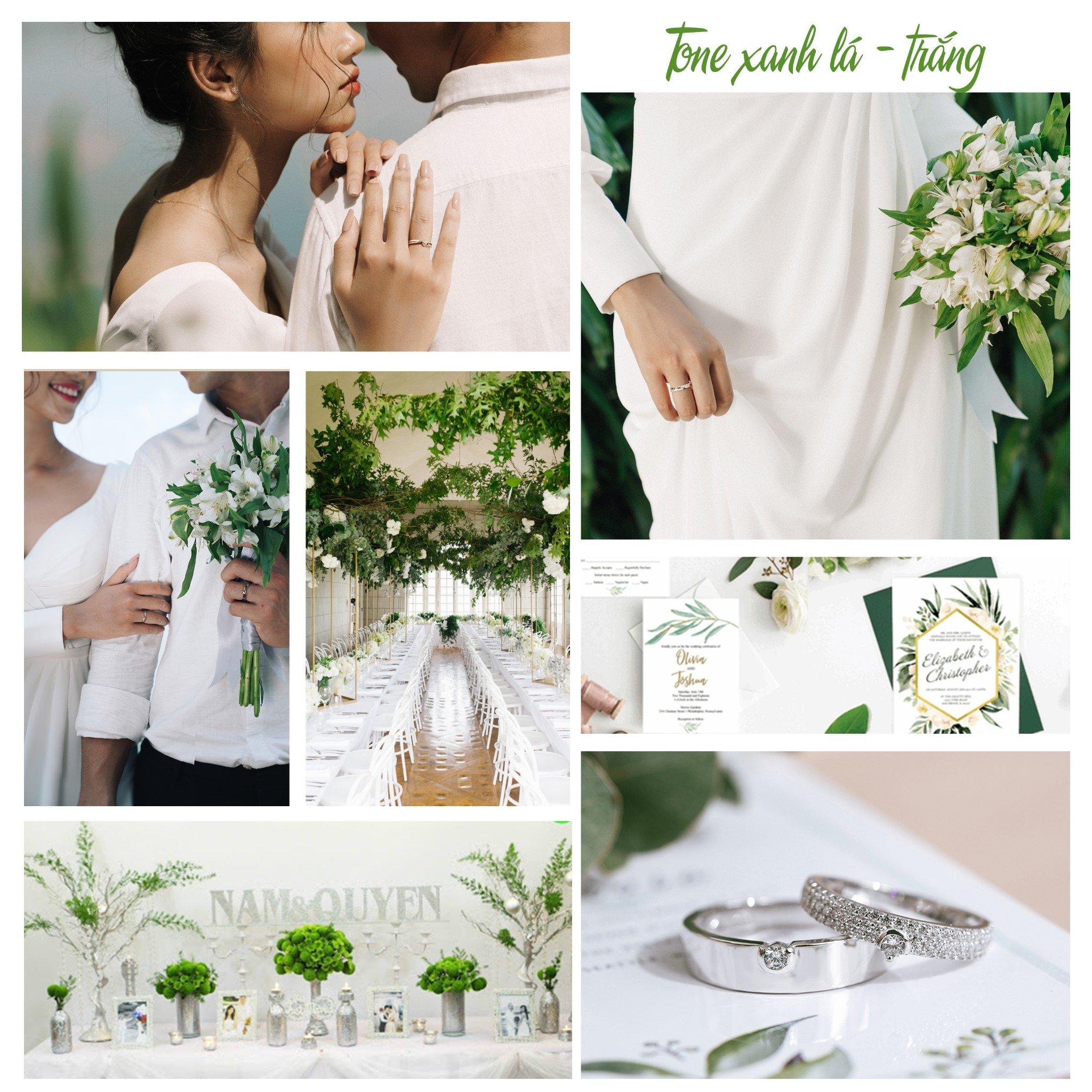 không gian tiệc cưới tone xanh lá