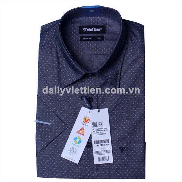 Mẫu áo sơ mi họa tiết nhỏ màu trắng trên màu vải xanh đen