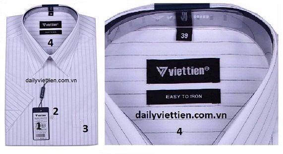 Hình ảnh phân vùng để phân biệt áo sơ mi Việt Tiến thật