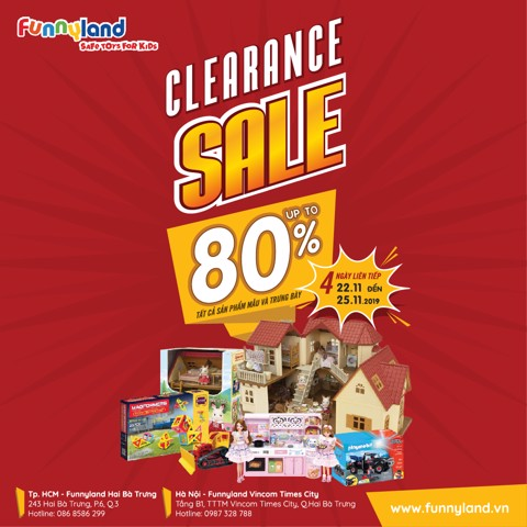 FUNNYLAND CLEARANCE SALE 2019