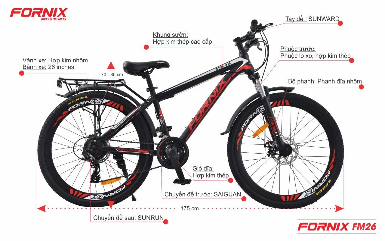 Chi tiết xe đạp địa hình Fornix FM26