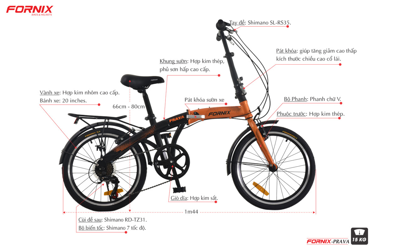 chi tiết xe đạp gấp fornix prave