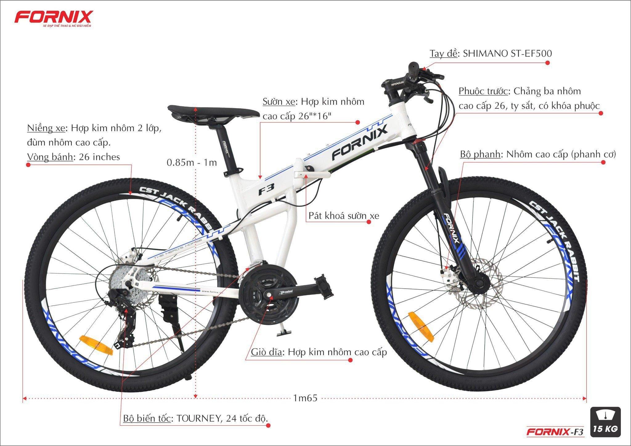 chi tiết xe đạp gấp fornix f3