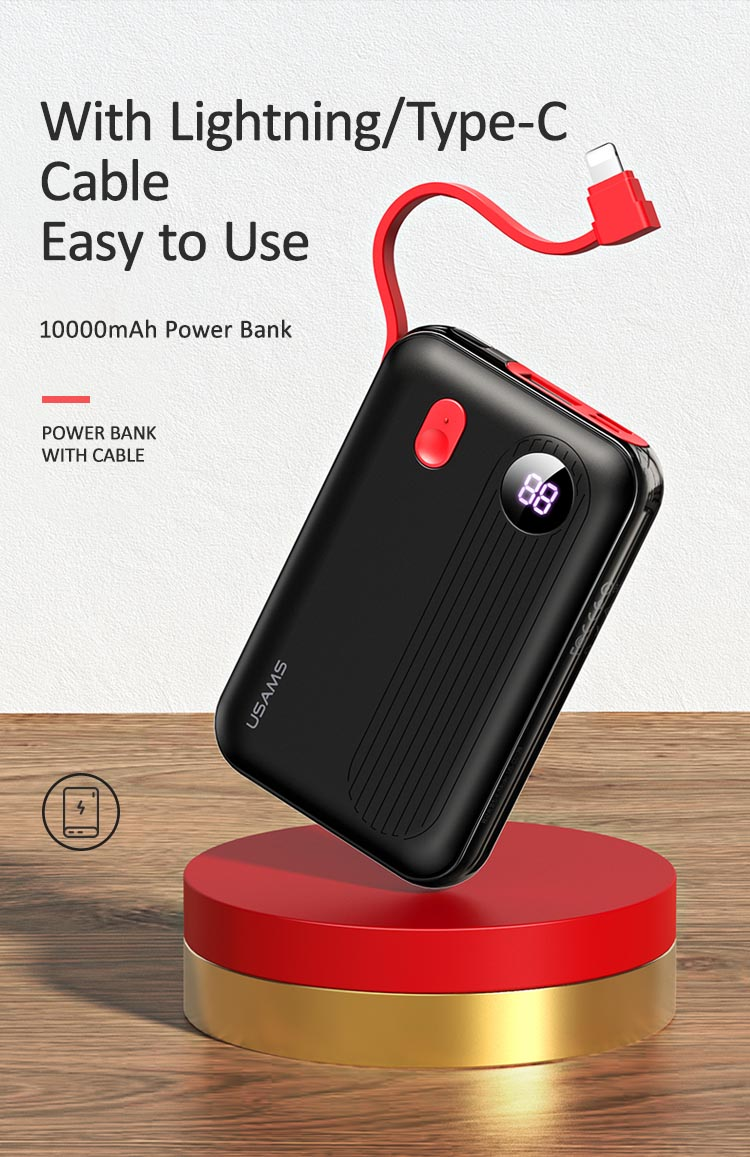 US-CD128/US-CD129 PB48/PB49 Power Bank with Lightning/Type-C Cable 10000mAh