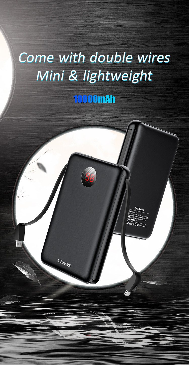 Sạc pin dự phòng nhanh tích hợp 2 cáp sạc cổng Type C và Micro USAMS US-CD74 PB13 Digital Power Bank With Cable 10000mAh mua ở đâu giá tốt.
