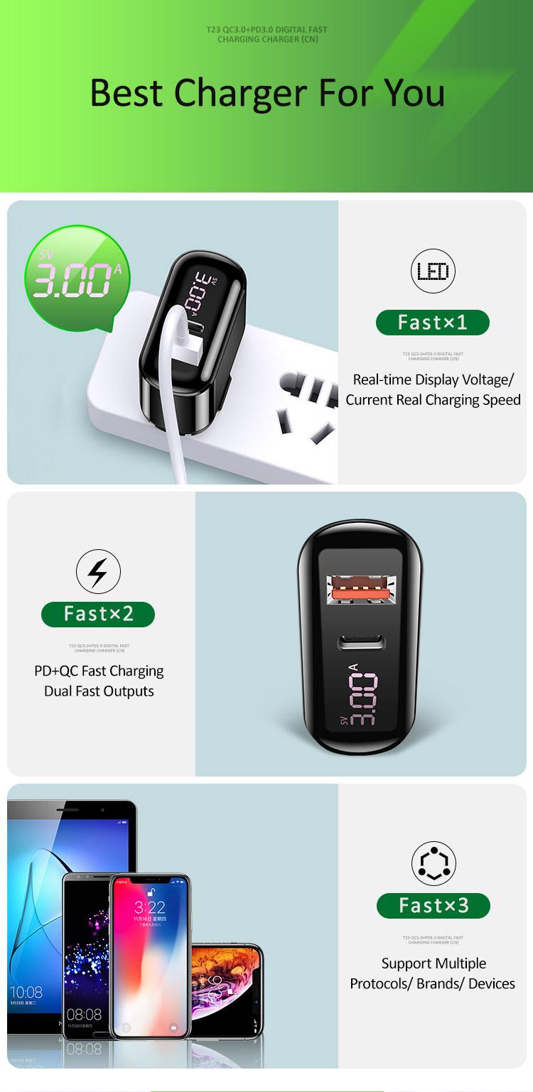 Củ sạc nhanh QC3.0 tích hợp PD3.0 hiển thị số USAMS US-CC084 T23 QC3.0+PD3.0 Digital Fast Charging Charger(CN)