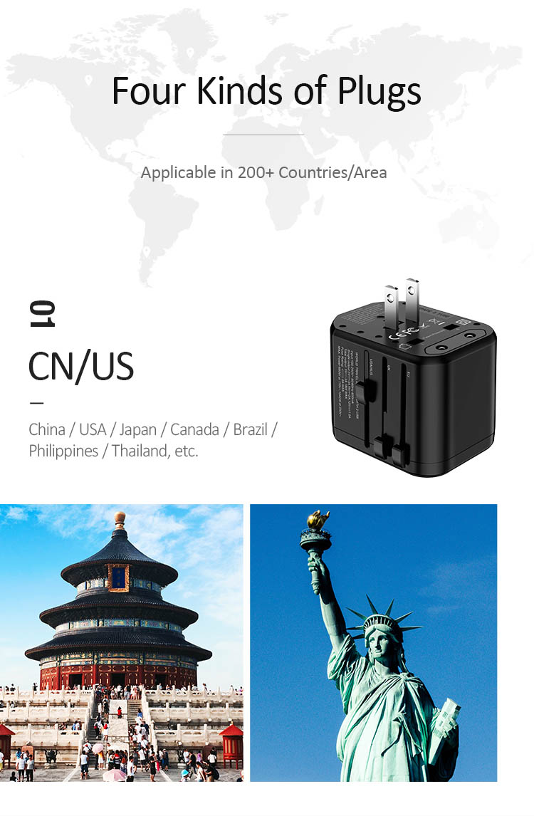 Cục sạc du lịch toàn cầu tích hợp công nghệ sạc nhanh PD + QC USAMS US-CC071 T16