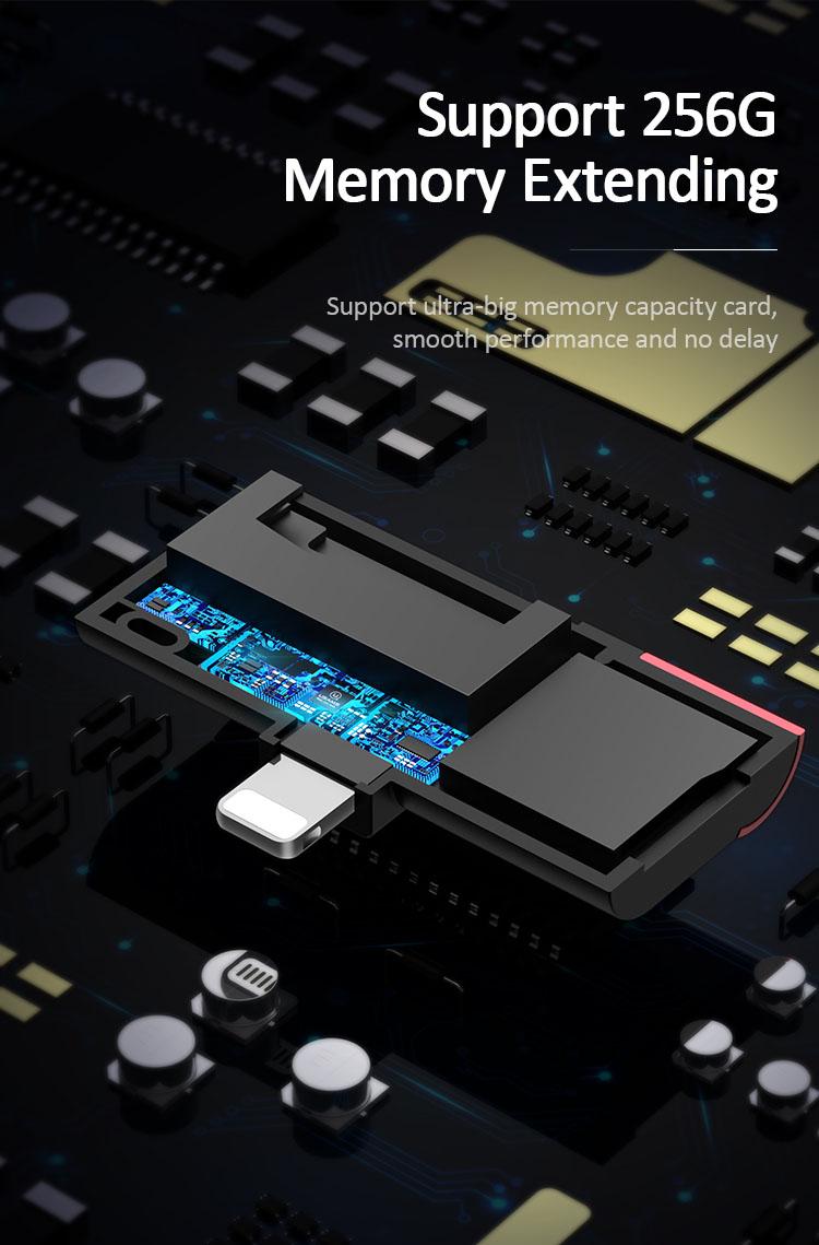 Đầu đọc thẻ mở rộng bộ nhớ cho iPhone iPad cổng Lightning USAMS US-SJ430 (Đọc thẻ SD Card, TF) (Màu đỏ)