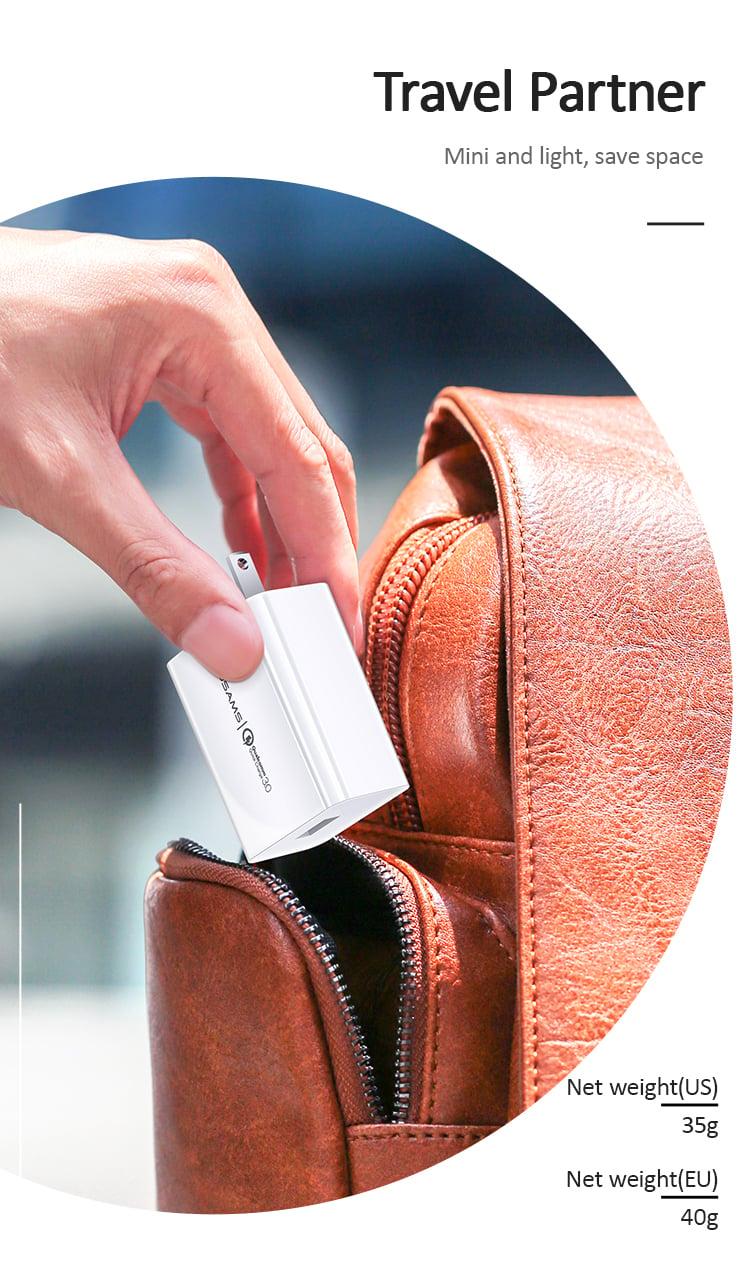 Củ sạc nhanh du lịch đa năng US-CC082/US-CC083 T22 Single USB QC3.0 Travel Charger (US)/(EU) mua ở đâu giá tốt