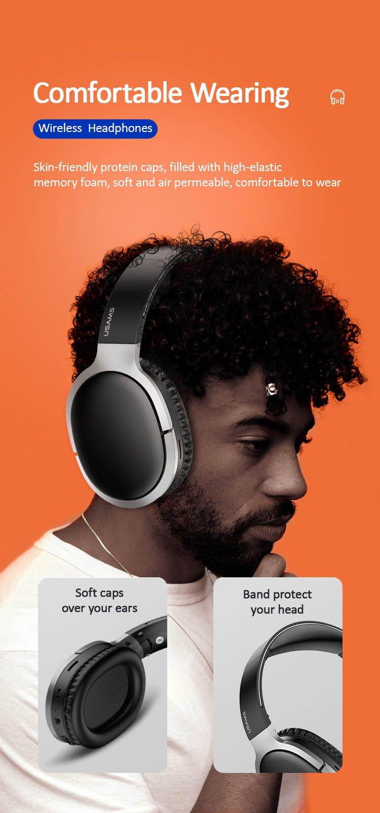 Tai nghe chụp tai headphone khử tiếng ồn không dây Usams US-YN001 Wireless Noise Cancelling Headphones - YN Series