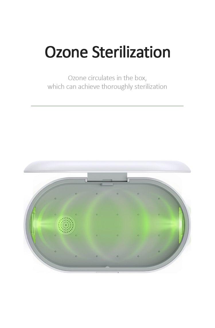 Máy diệt khuẩn, tiệt trùng mini đa chức năng tích hợp sạc không dây, khuếch tán tinh dầu USAMS US-ZB138 Multi-function Mini Sterilizer With Wireless Charging