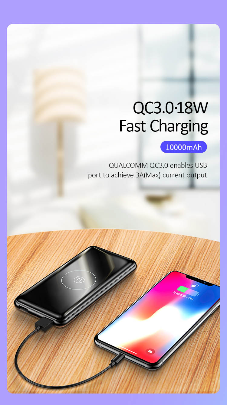 US-CD88 PB27 QC3.0+PD 10W Wireless Fast Charging Power Bank 10000mAh