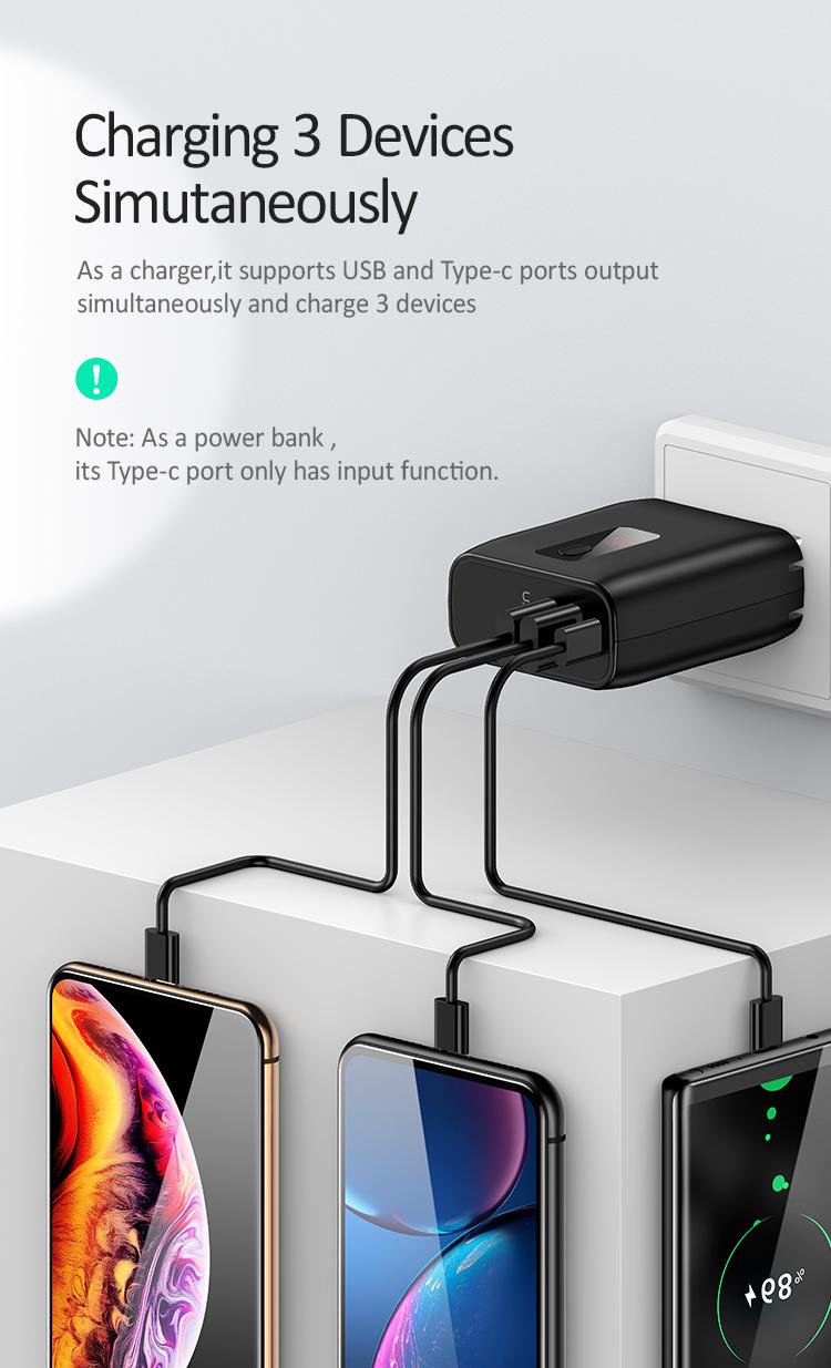 Tích hợp 2 trong 1 củ sạc kiêm pin sạc dự phòng có màn hình hiển thị dung lượng pin USAMS US-CD77 PB16 LED Display 2in1 Wall Charger Power Bank 5000mAh (CN Plug) mua ở đâu giá tốt