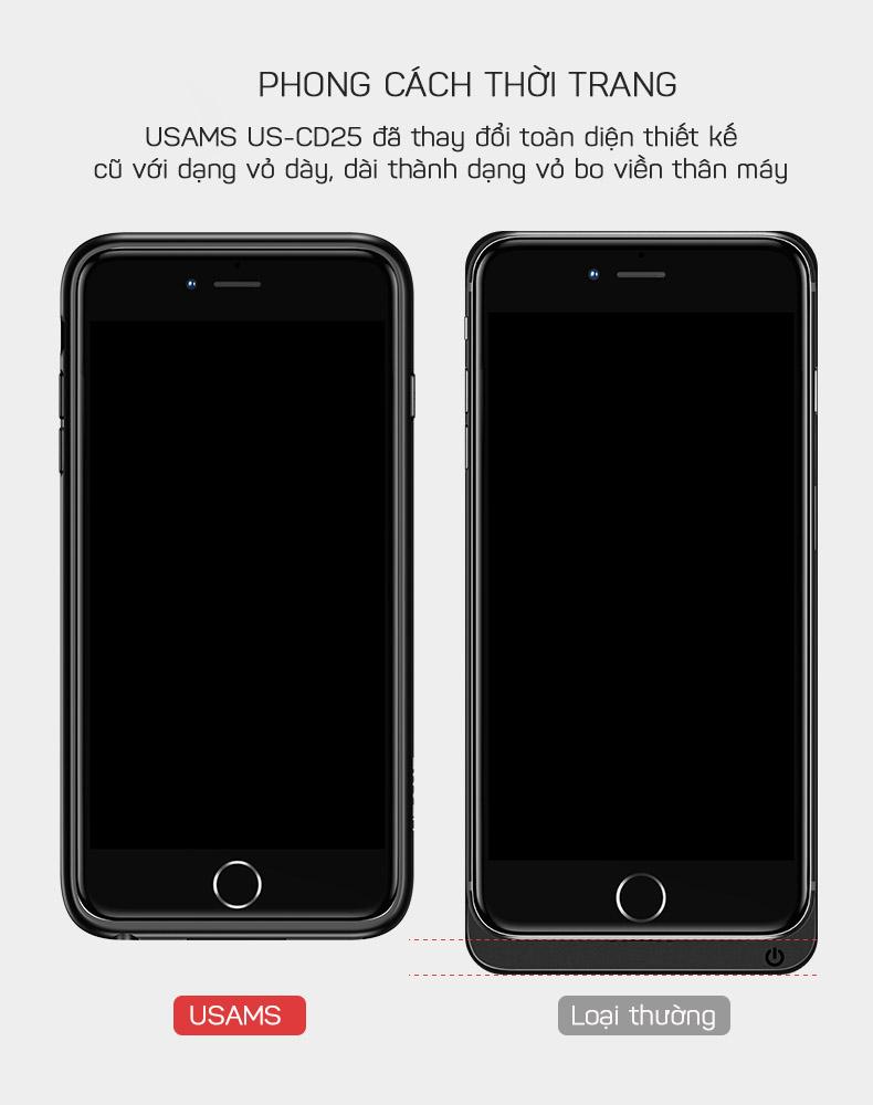 Ốp lưng kiêm pin sạc dự phòng cho iPhone 6/7/8 USAMS US-CD25 Millie Series 3000mAh