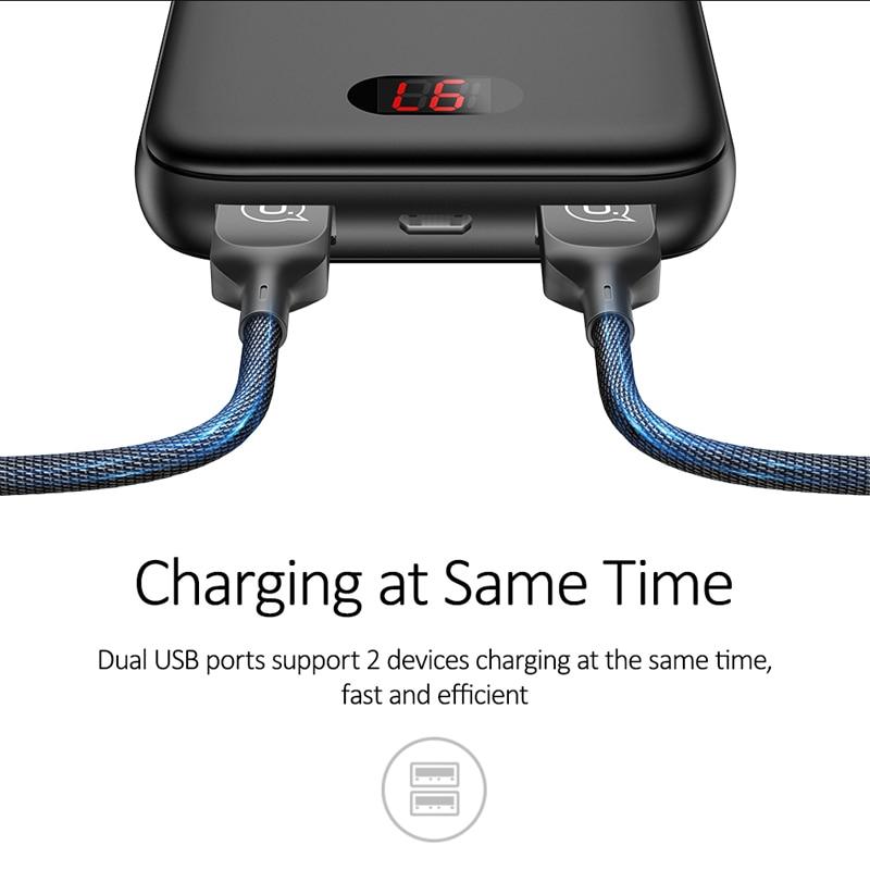 Pin sạc dự phòng màn hình kỹ thuật số tích hợp 2 cổng USB và cổng Micro USAMS US-CD66 PB9 Dual USB Mini Digital Power Bank 10000mAh mua ở đâu giá tốt