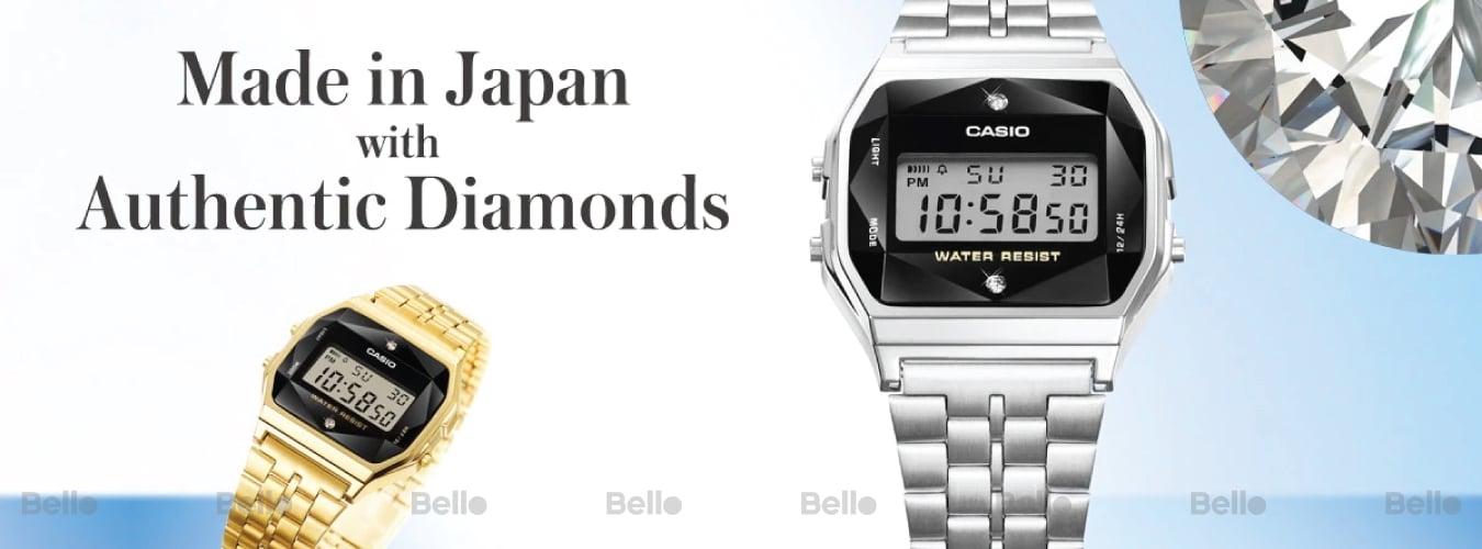 Casio Kim cương - Sản xuất tại Nhật Bản - MADE IN JAPAN với Kim cương thật