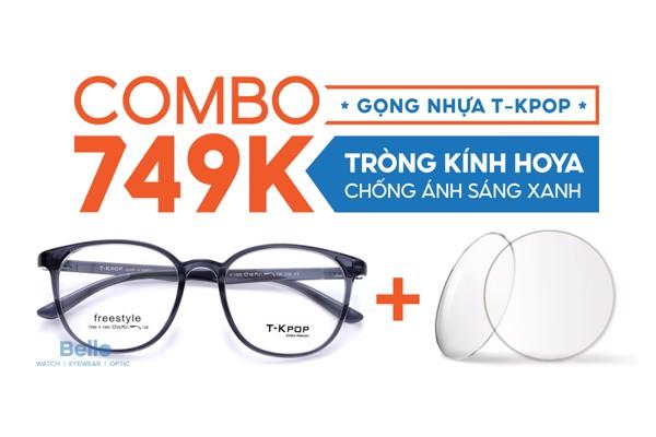Combo Gọng Nhựa T-Kpop + Tròng Kính Chống Ánh Sáng Xanh Hoya 749k