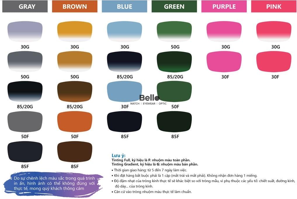 Chemi Crystal U2 1.60 SP Nhuộm Màu với 24 màu tuỳ chọn