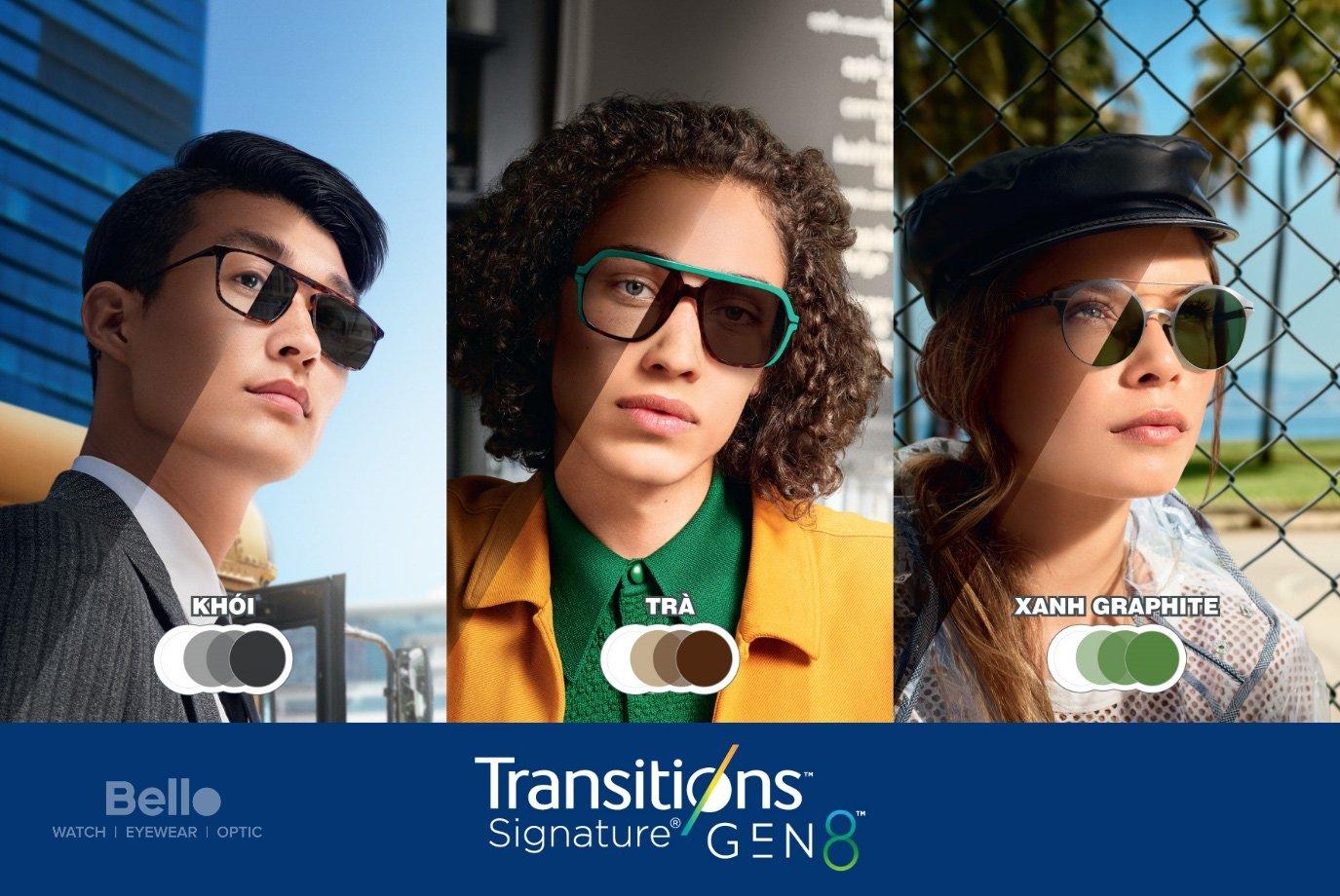 Tròng kính đổi màu Essilor Transitions Gen 8 Màu Khói, Xanh Graphite, Trà